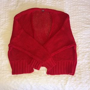 AERIE - S Red Knit Cardigan
